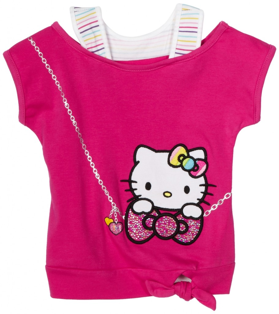Hello Kitty Girls Hot Pink Tank 2-Fer Top with Applique