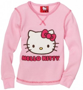 Hello Kitty Girls Pink Chain Stitch Thermal Top