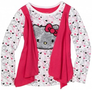 Hello Kitty Girls Pink Vest 2-Fer Top with All Over Print