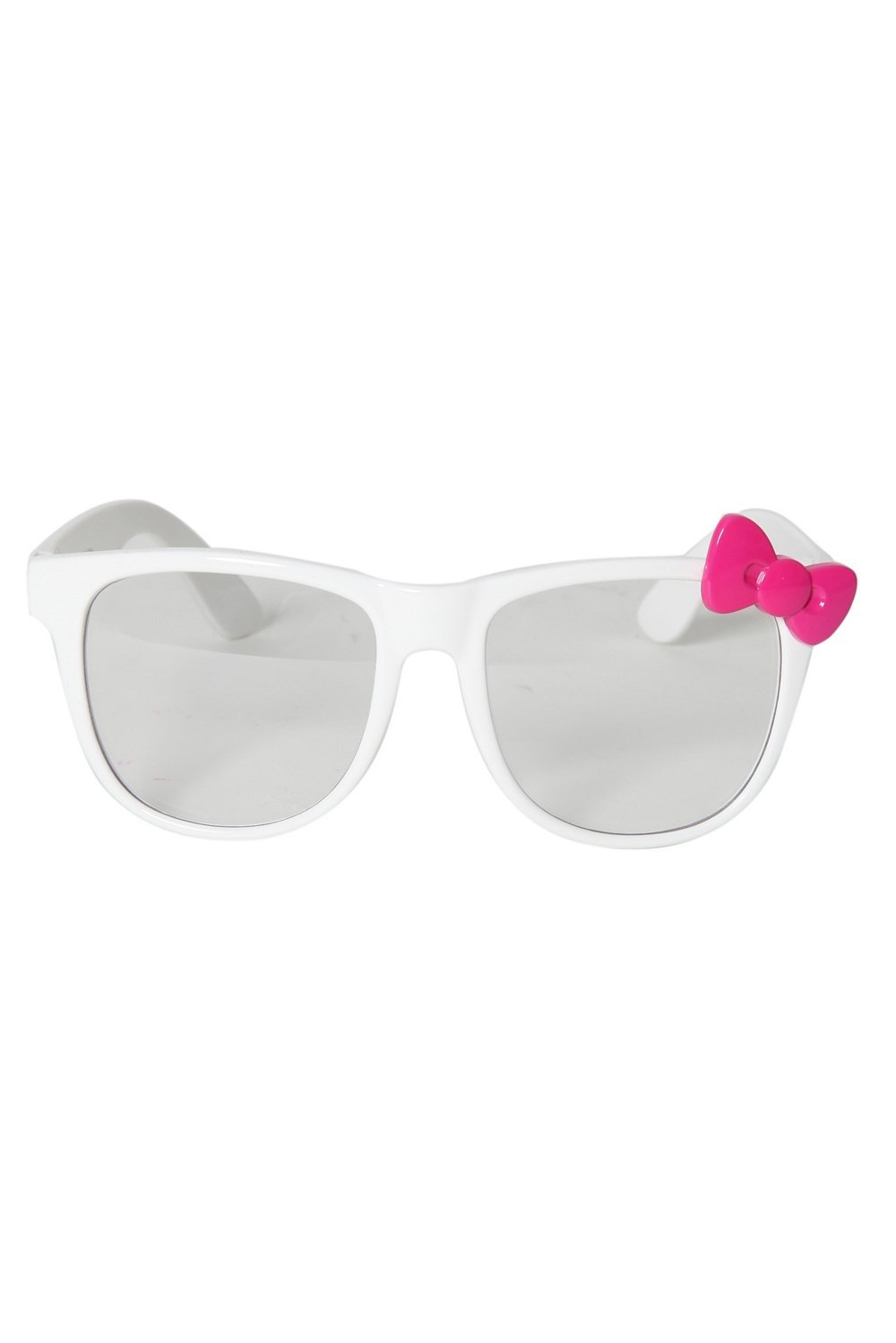 Hello Kitty White Pink Bow Retro Clear Lens Glasses