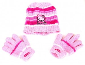 633816bc348 Kids Hello Kitty Pink Beanie and Gloves Set