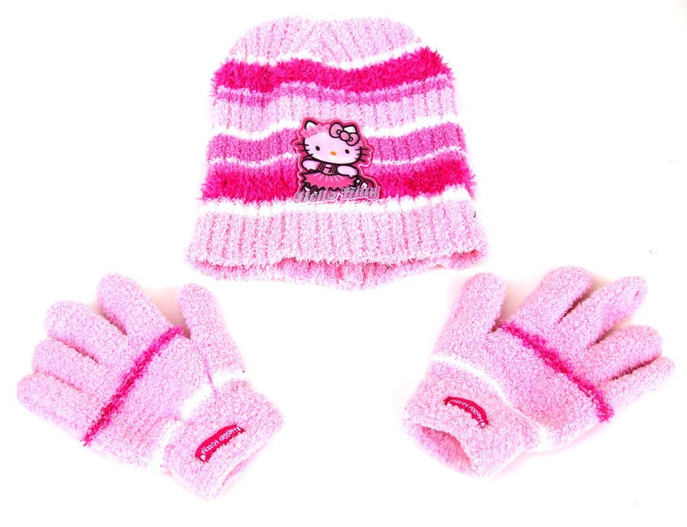 Kids Hello Kitty Pink Beanie and Gloves Set