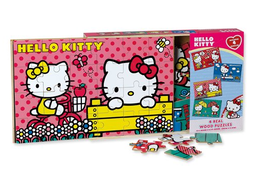 Pink Hello Kitty 4 Wood Puzzles