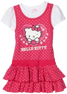 Pink Hello Kitty Girls Knit Dress With Polka Dots