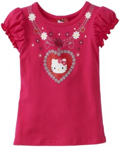 Pink Hello Kitty Girls Puff Sleeve Neck Tee
