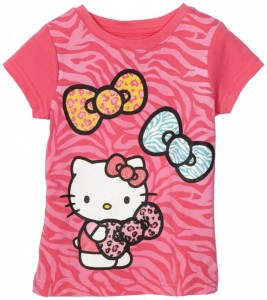 Pink Hello Kitty Girls Three Bow Graphic T-Shirt