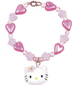 Pink Hello Kitty Little Girls Flower Charm Bracelet