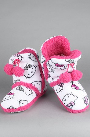 Pink and White Hello Kitty Super Plush Booties