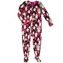 hot pink penguin fleece pajamas