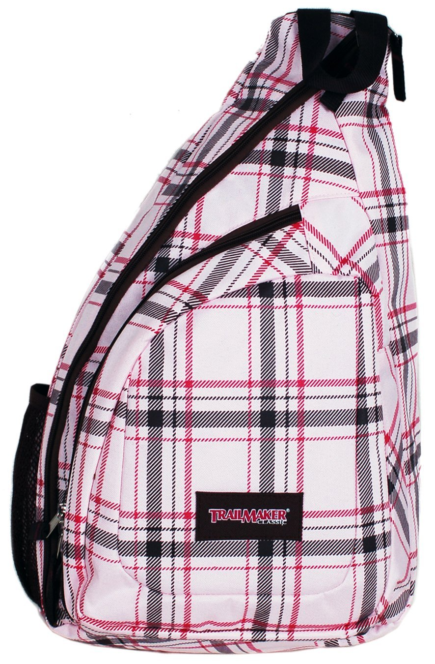 pink plaid bodysling backpack