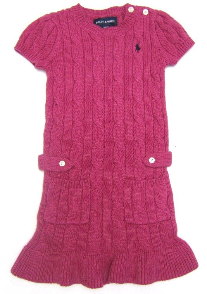 ralph lauren pink cable knit dress
