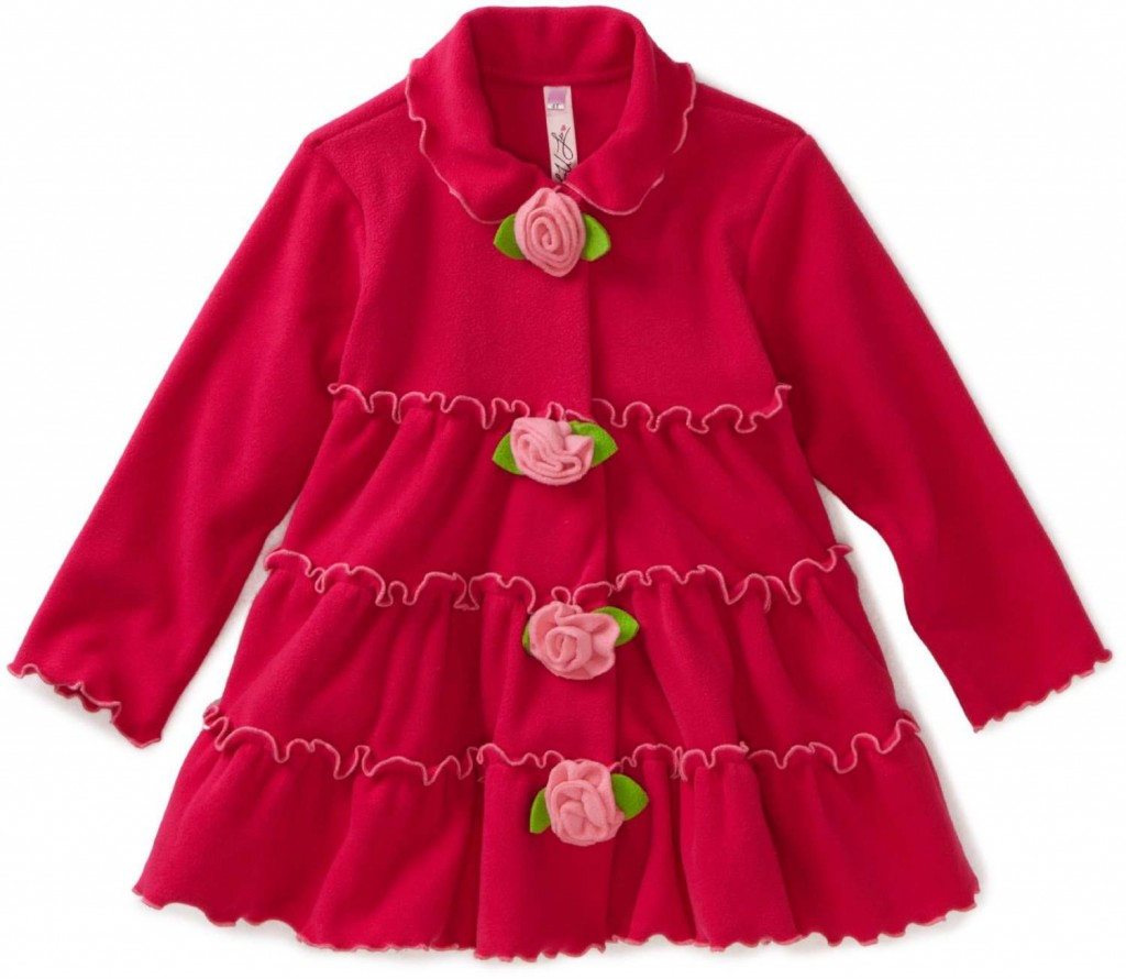 pink tiered jacket with flower trim