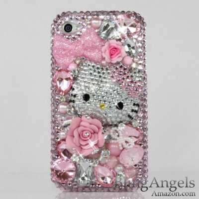 3D Swarovski Pink Hello Kitty Crystal Bling Case Cover faceplate for iphone