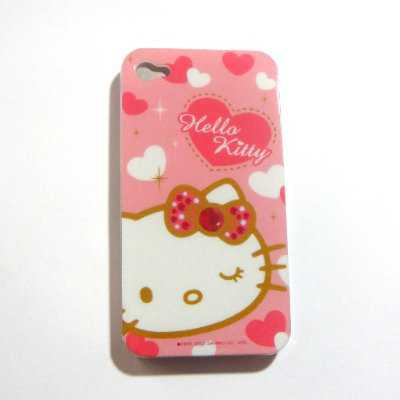 Hello Kitty pink heart Snap On Hard Case Cover for iphone 4